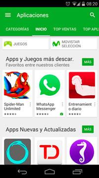 Versión de Play Store al momento de descargar aplicaciones