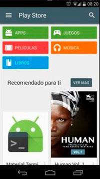Vista de Play Store al momento de descargar aplicaciones