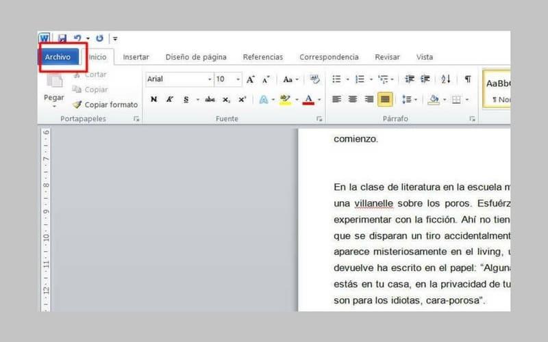 icono de archivo en documento de word