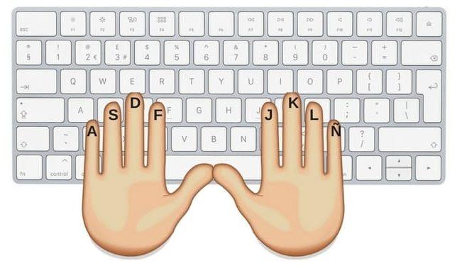 posición de las manos para usar el teclado