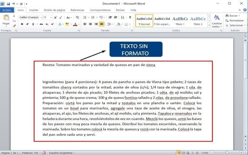 guia usar word texto sin formato