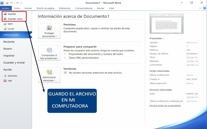 guía uso word guardar un documento