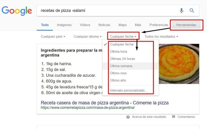 buscar en google por fecha