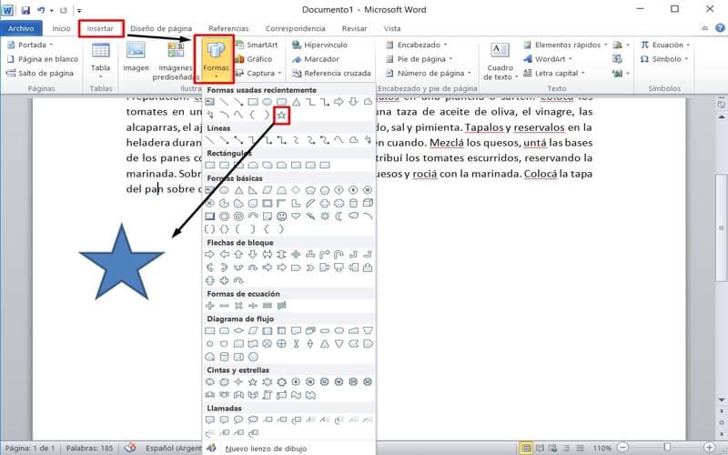 usar word insertar forma gráfica