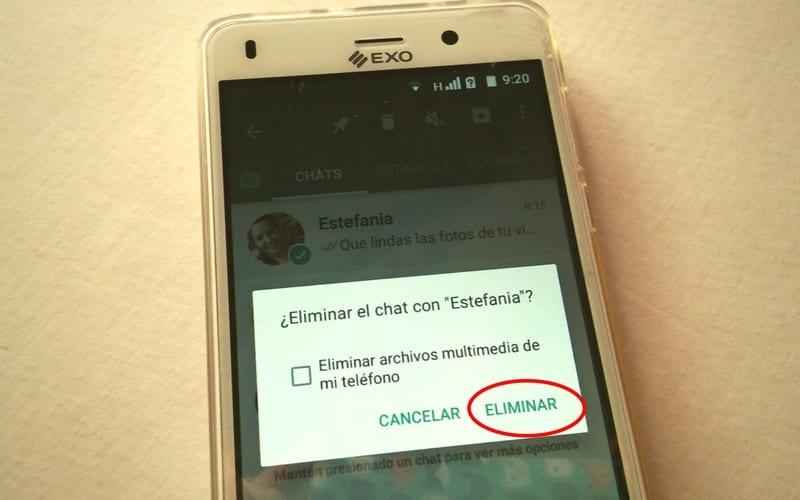como eliminar chat en whatsa