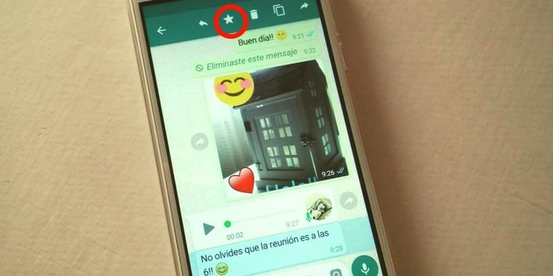 como marcar mensaje como favorito en whatsapp