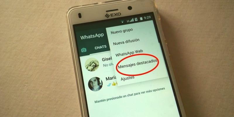 como marcar mensaje como favorito whatsapp