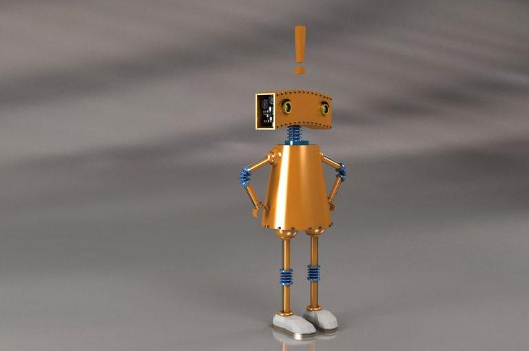 Robot con signo de exclamación en la cabeza