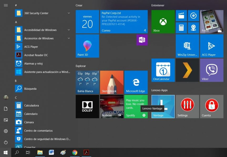 Aplicaciones del escritorio de windows 10