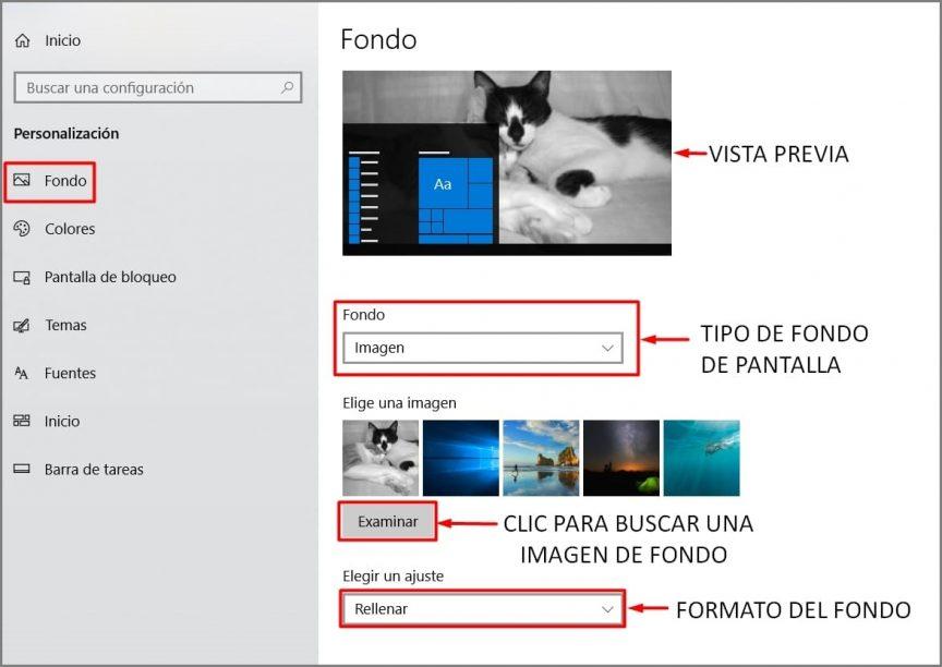 Pasos para cambiar el fondo de pantalla
