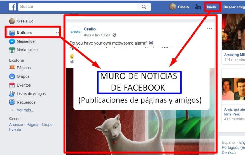 muro de noticias de facebook