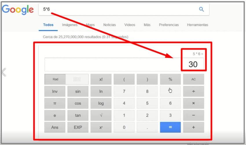 como usar la calculadora de google