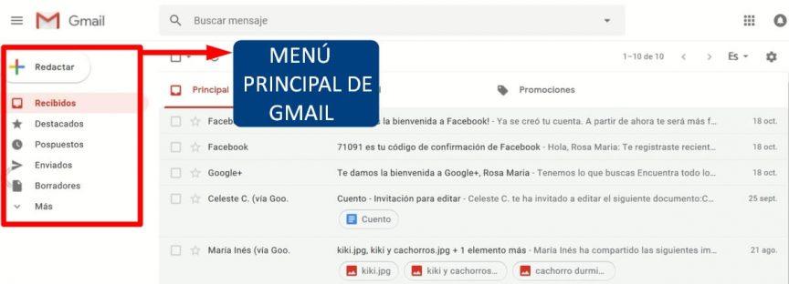 menu principal de gmail