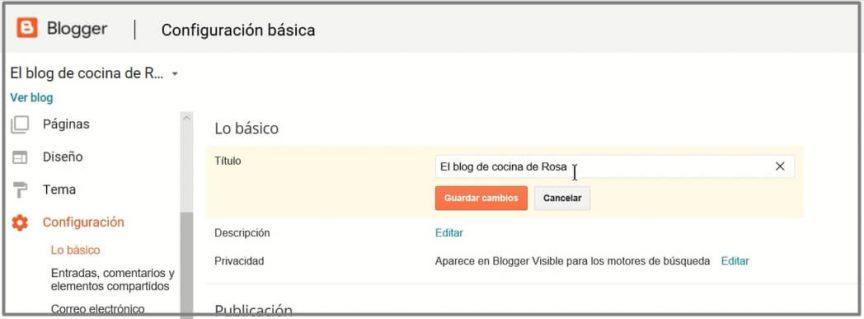configuraciones básicas blog de blogger
