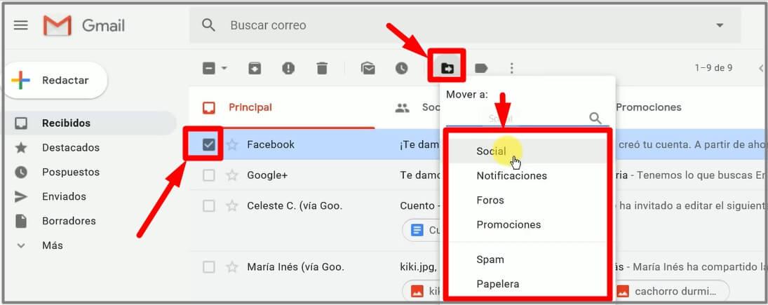 como usar las pestañas de gmail