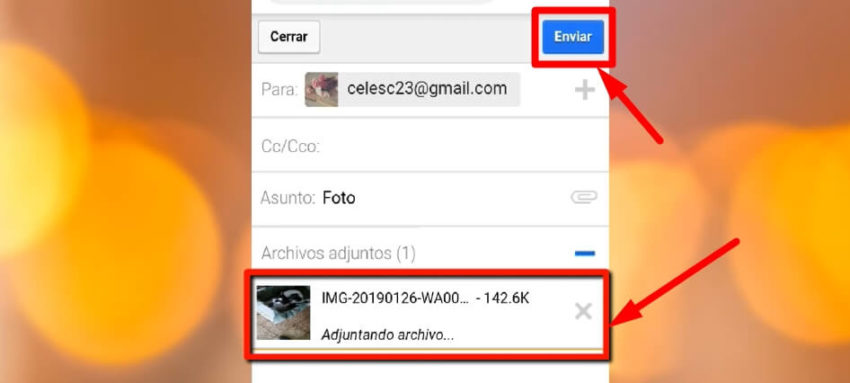 enviar fotos del celular a la computadora por correo