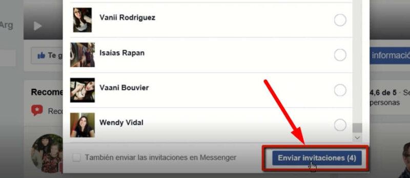 invitar a dar me gusta en facebook