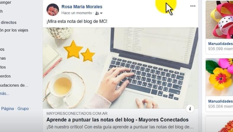 compartir nota blog en facebook