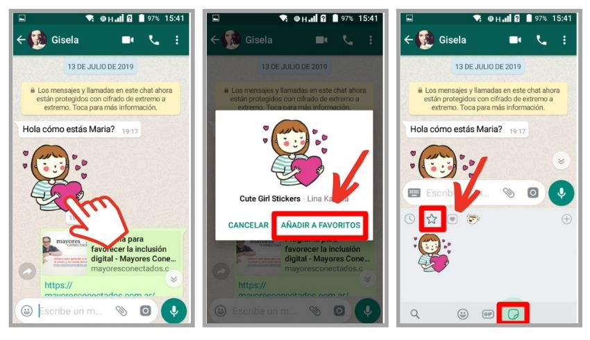 guardar stickers de whatsapp