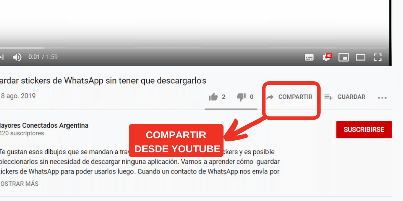 como compartir video de youtube