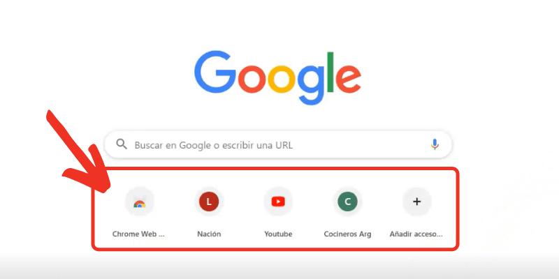 añadir accesos directos en la página de google