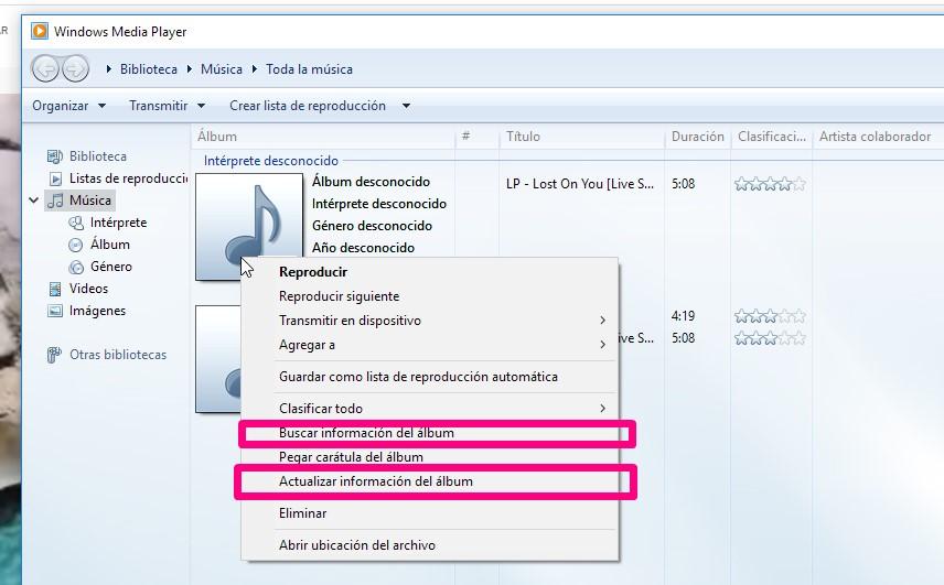 captura del programa Windows Media