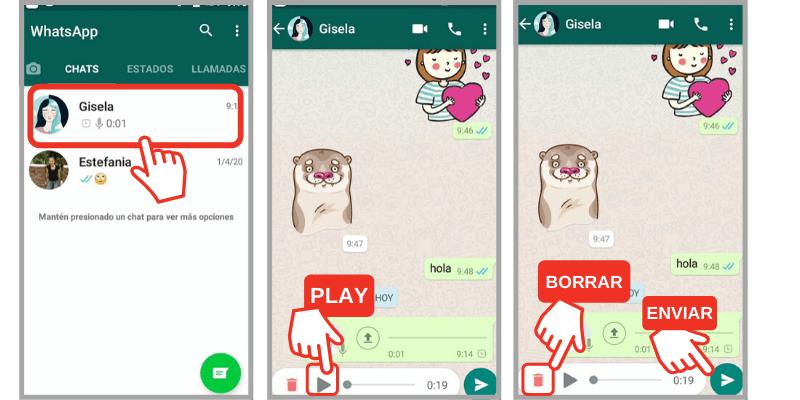 como escuchar audio de whatsapp antes de enviarlo