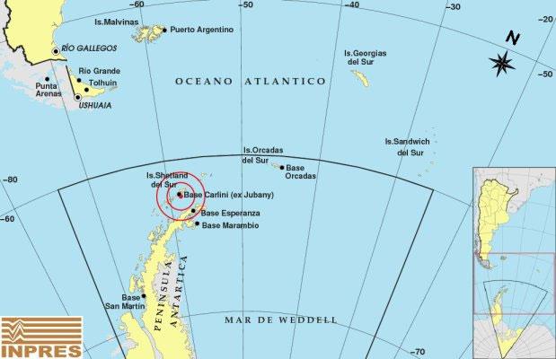 Ubicación de la Base Carlini en el mapa