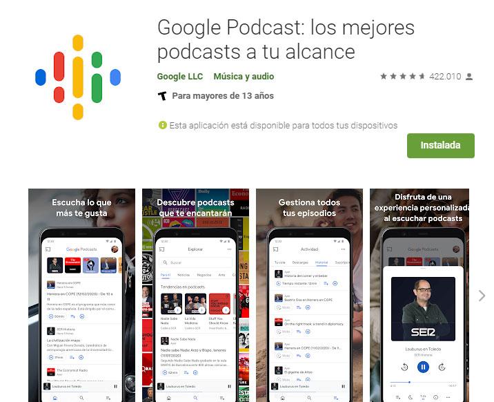 Google Podcast aplicación en Play Store