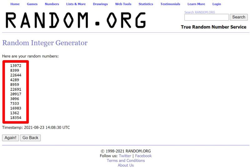 captura de la página random.org con la que se hace el sorteo