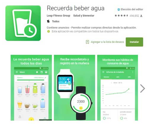 "Pantallas de google Play con la aplicación ""Recuerda beber Agua"""