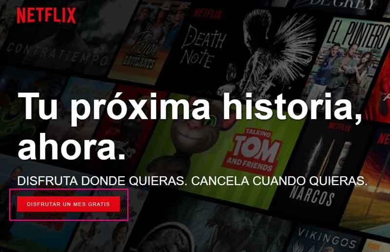 Pantalla de inicio de Netflix en la web.