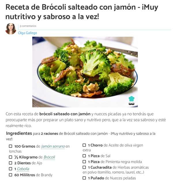 Brócoli salteado con jamón