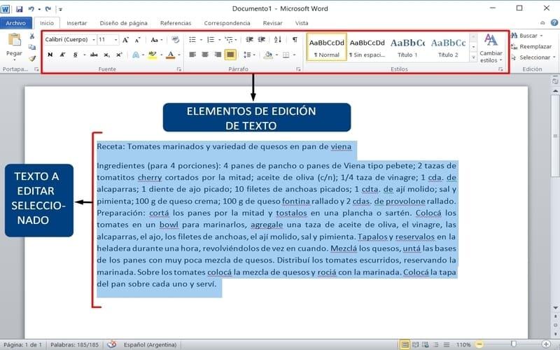 usar microsoft word editar un texto