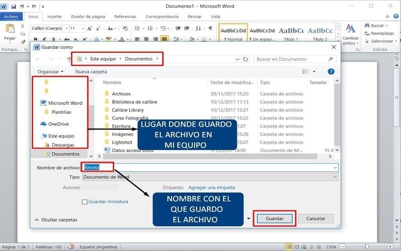 guía uso word guardar un documento