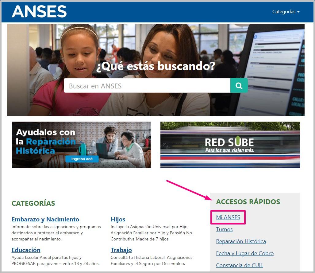 pantalla web ANSES Acceso al tramite de Reparacion Historica