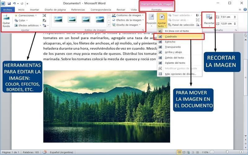 usar word editar una imagen