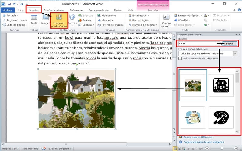 usar word insertar imagen prediseñada