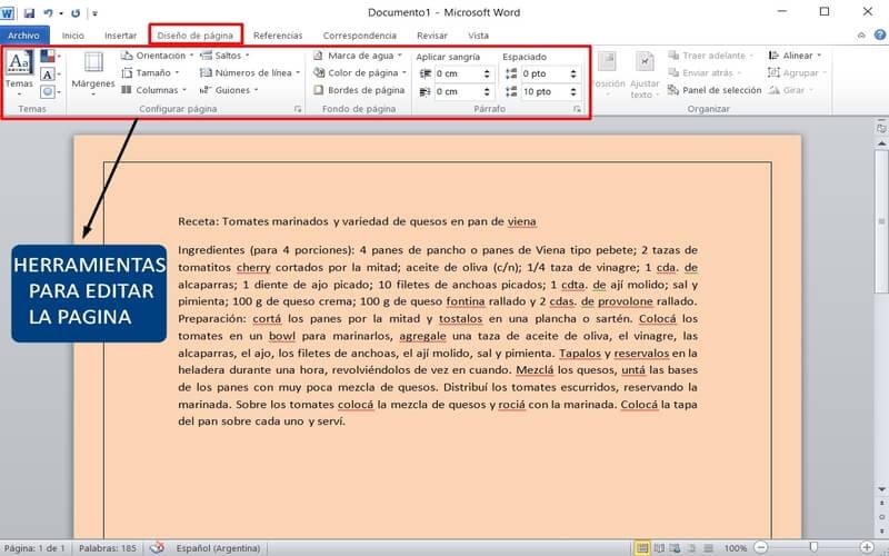 usar word editar la pagina