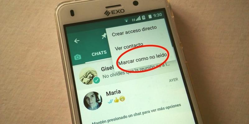 como marcar chat como no leido en whatsapp