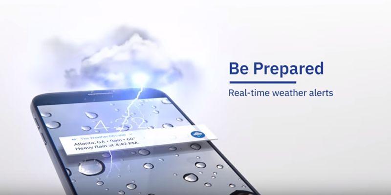 Vista en celular de app con información de tiempo The Weather Channel