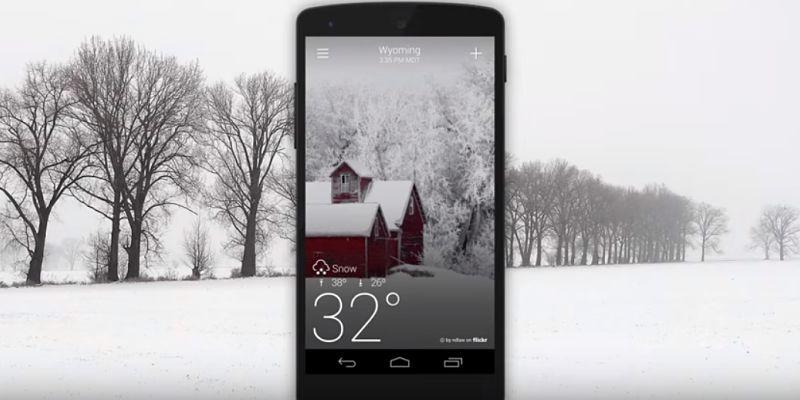 Vista en celular de app con información del tiempo de Yahoo Clima